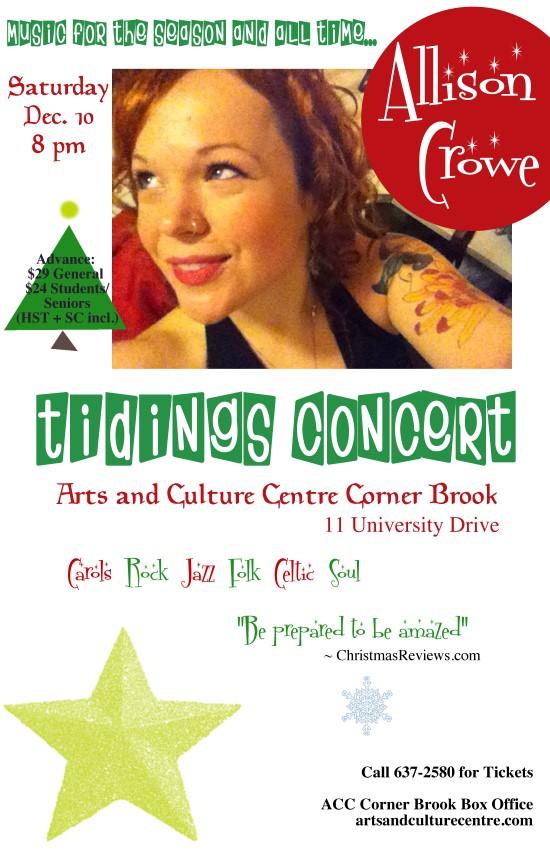 Allison Crowe Tidings Concert - Corner Brook ACC - December 10, 2016 - poster sm