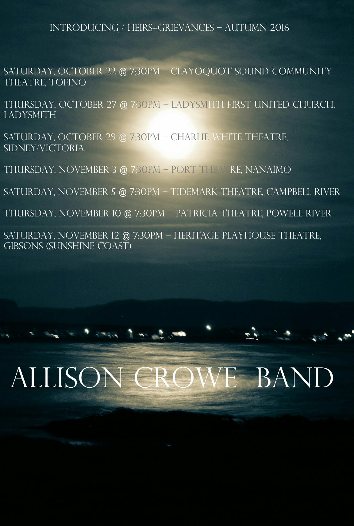 Allison Crowe and Band - Autumn 2016 Tour - Introducing / Heirs+Grievances