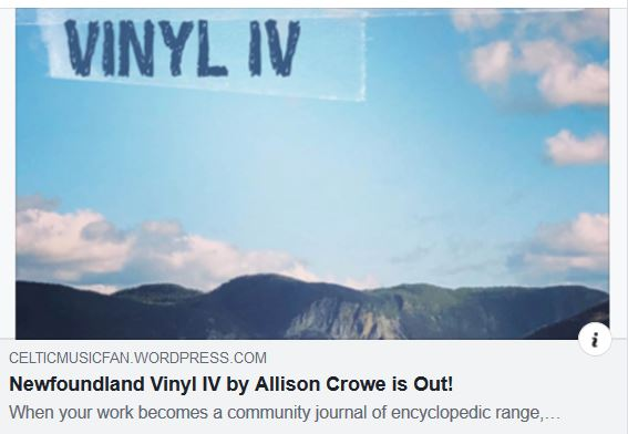 Celtic Music Fan - Newfoundland Vinyl IV by Allison Crowe is Out!
