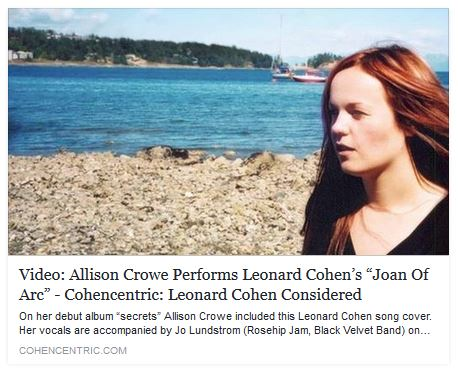 Cohencentric: Leonard Cohen Considered - Joan of Arc - Allison Crowe