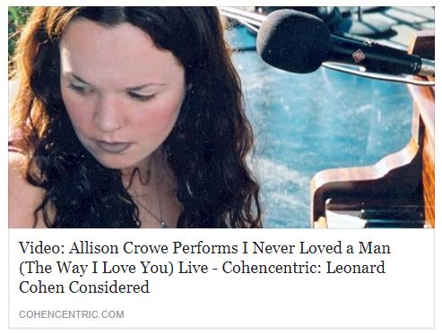 Cohencentric - Allison Crowe - I Never Loved a Man