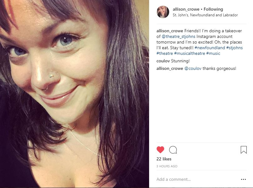 Instagram takeover - Allison Crowe @ Theatre St. John's