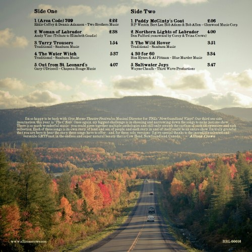 Newfoundland Vinyl II - Allison Crowe - album back cover