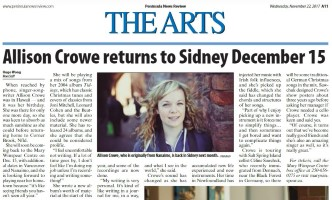 Allison Crowe Tidings - Sidney 2017 - Hugo Wong Peninsula News Review