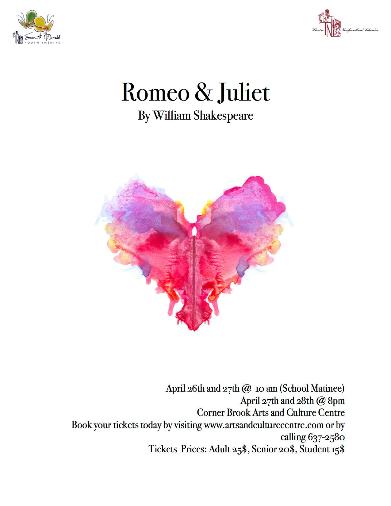 Romeo and Juliet - Theatre Newfoundland and Labrador (TNL) and Sara…H McDonald Youth Theatre
