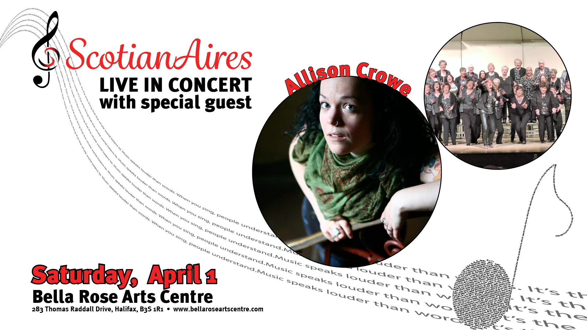 Allison Crowe, The ScotianAires, Tonic! April 1, 2017 Concert banner