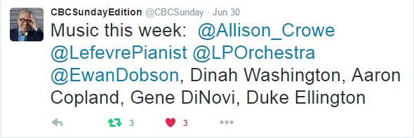 CBC Radio Sunday Edition with Michael Enright - Allison Crowe and Band Canada Day 2016